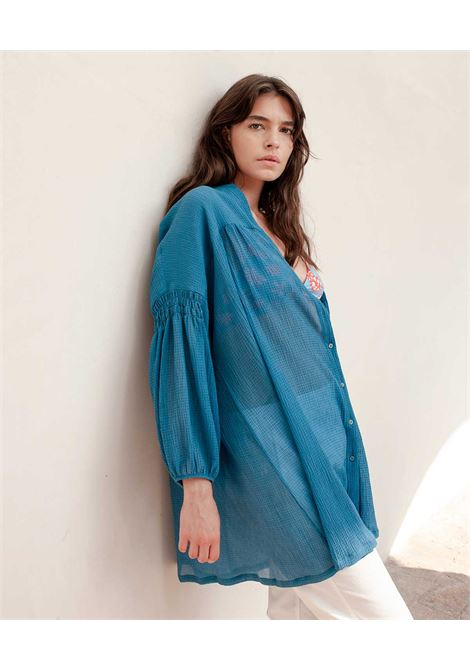 Oversize shirt in light blue seersucker voile MOMONI |  | MODR0180834