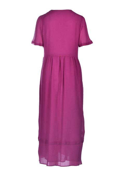 Half-sleeved empire dress in cyclamen seersucker voile MOMONI |  | MODR0190455