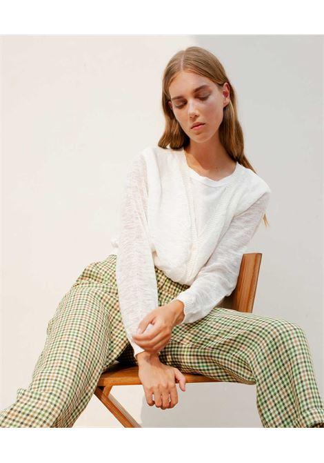 Cardigan in lino fiammato bianco MOMONI | Maglieria | MOKN0070010
