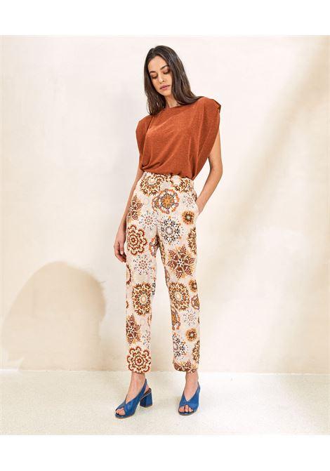 Cream and pink crepe de Chine print trousers MOMONI | Pants | MOPA0021028