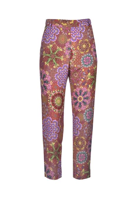 Trousers in brick and pink crepe de Chine print MOMONI | Pants | MOPA0026243