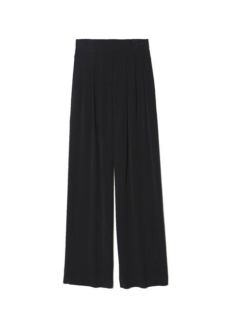 Pantalone in tessuto misto seta nero MOMONI | Pantaloni | MOPA0030990