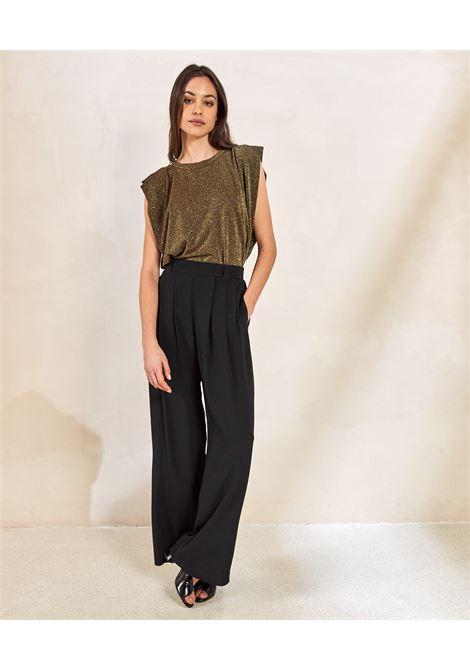 Trousers in black silk blend fabric MOMONI | Pants | MOPA0030990