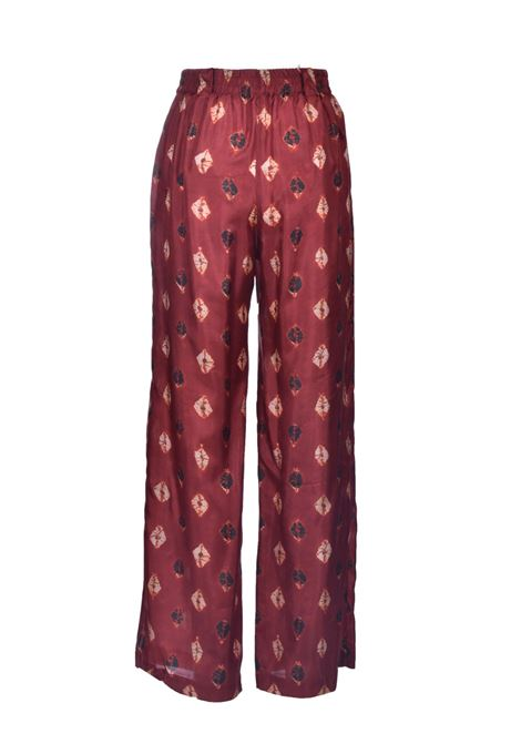 Burgundy habutai silk trousers MOMONI | Pants | MOPA0034026