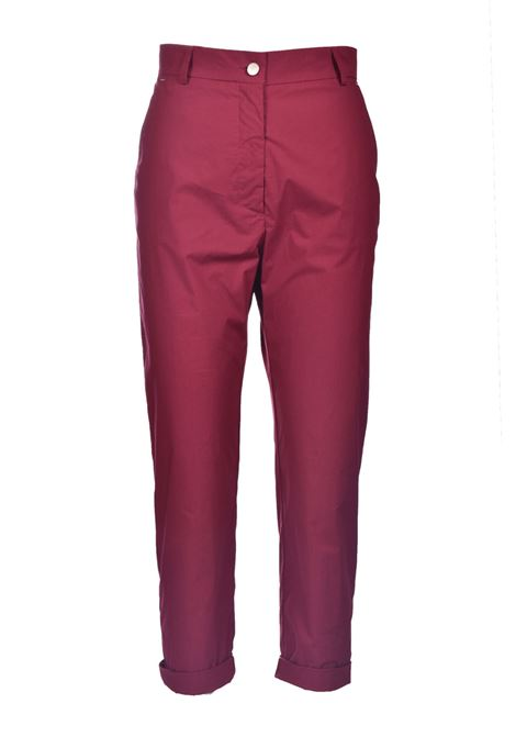 Burgundy stretch cotton poplin trousers MOMONI | Pants | MOPA0040380