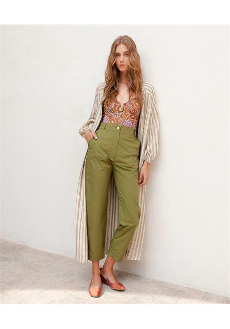 Green stretch cotton poplin trousers MOMONI | Pants | MOPA0040760