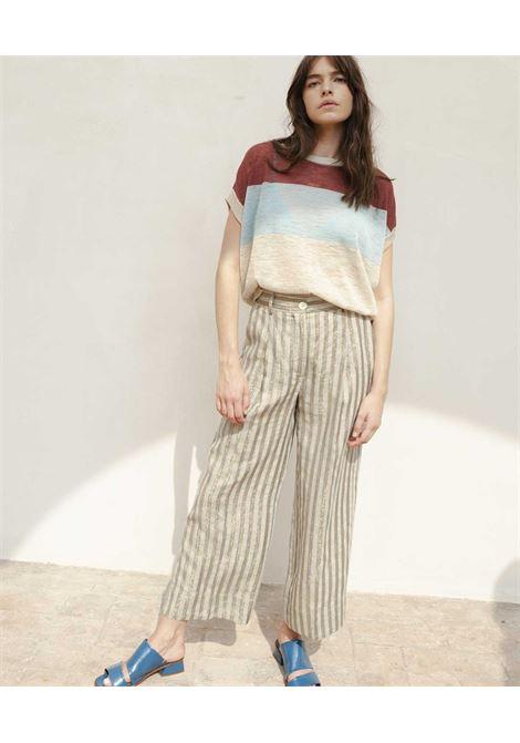 Pantalone in tessuto di lino misto a righe lurex polveroso MOMONI | Pantaloni | MOPA0060827