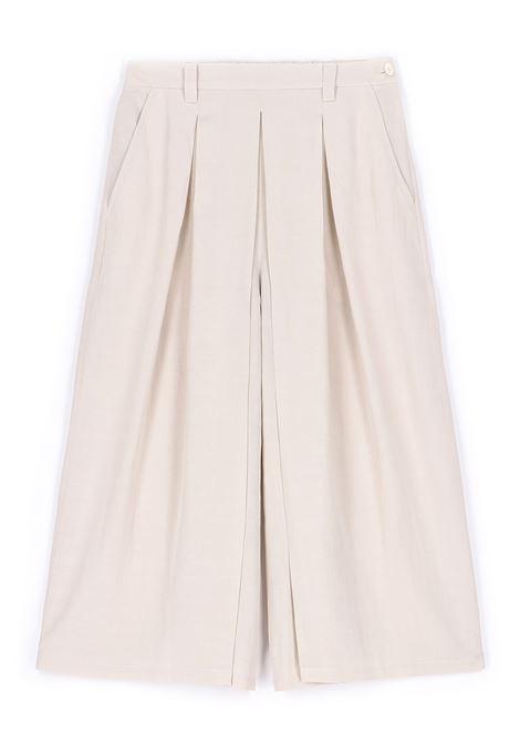 Gonna pantalone in tessuto di viscosa e lino panna MOMONI | Pantaloni | MOPA0070040