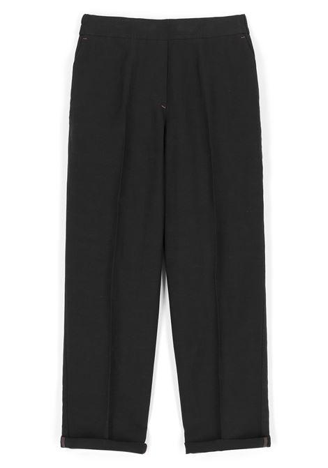 Pantalone in tessuto di viscosa e lino nero MOMONI | Pantaloni | MOPA0080990