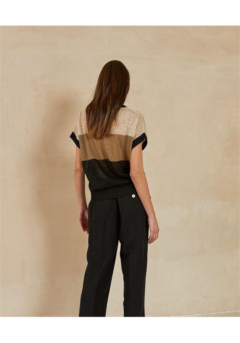Trousers in black viscose and linen fabric MOMONI | Pants | MOPA0080990