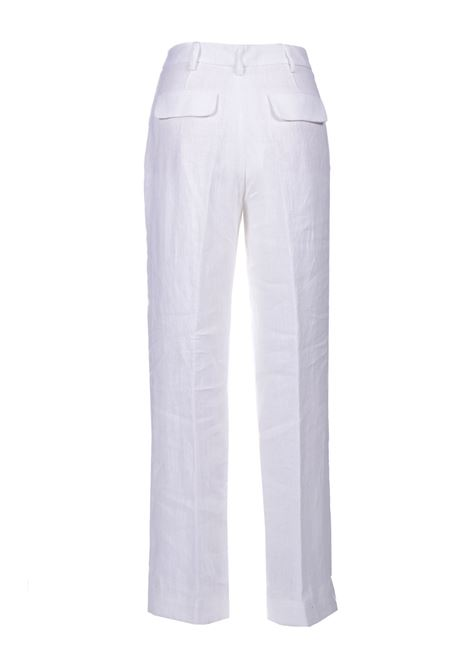 Palazzo trousers in pure white linen MOMONI | Pants | MOPA0110016