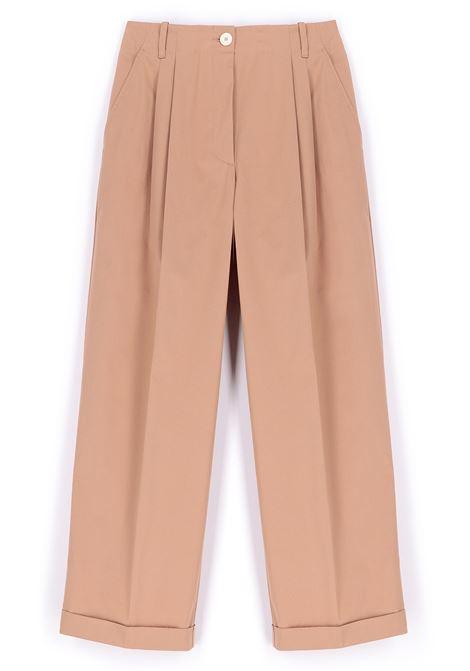 Pink stretch cotton gabardine trousers MOMONI | Pants | MOPA0170412