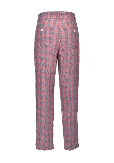 Pink check yarn-dyed linen trousers MOMONI | Pants | MOPA018/20450