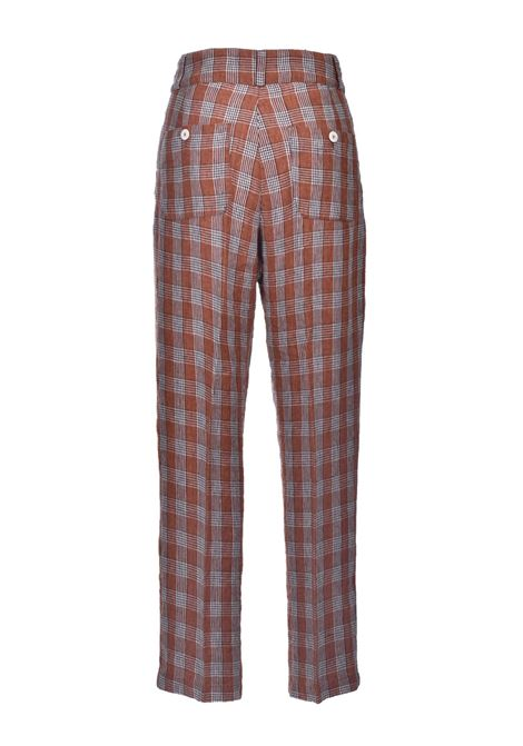 Tobacco check yarn-dyed linen trousers MOMONI | Pants | MOPA018/20640