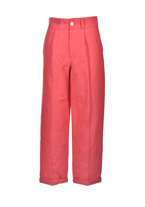 Pink yarn-dyed linen trousers MOMONI | Pants | MOPA0180450