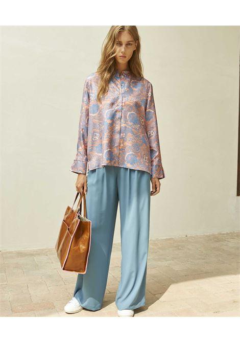 Camicia in twill con stampa damascata rosa e azzurro MOMONI | Camicie | MOSH0014327