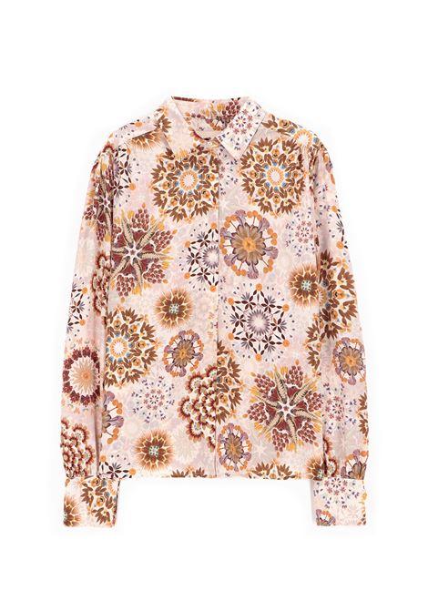 Camicia in crepe de chine in stampa rosa e panna MOMONI | Camicie | MOSH0031028