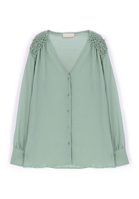 Camicia in voile di seta verde acqua MOMONI | Camicie | MOSH0090763