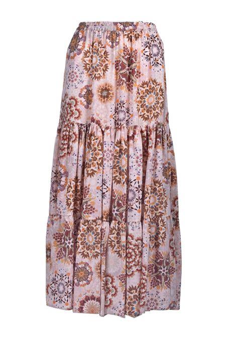 Long crepe de chine skirt in cream and pink print MOMONI | Skirts | MOSK0011028