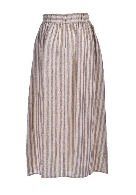 Long skirt in cream lurex striped linen fabric MOMONI | Skirts | MOSK0030040