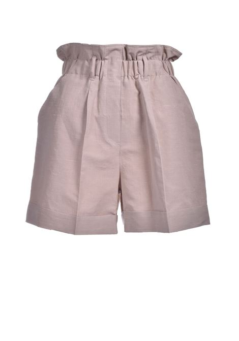 Shorts in linen and sand silk fabric MOMONI | Shorts | MOST0020110