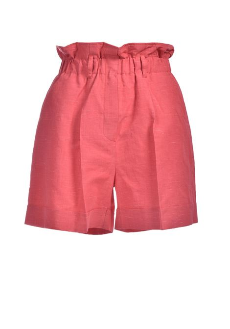 Shorts in pink linen and silk fabric MOMONI | Shorts | MOST0020450
