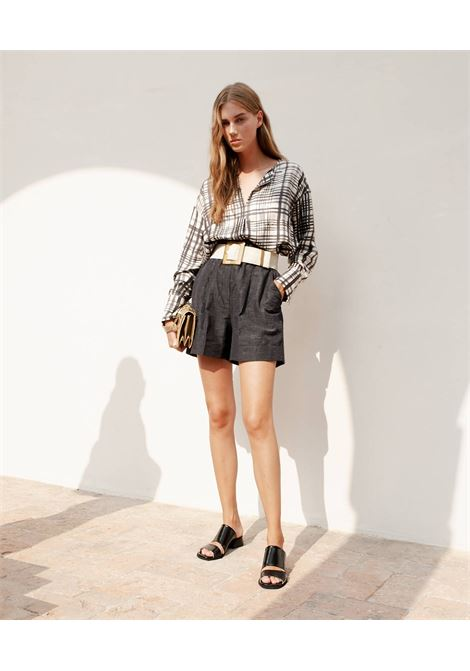 Shorts in black linen and silk fabric MOMONI | Shorts | MOST0020990