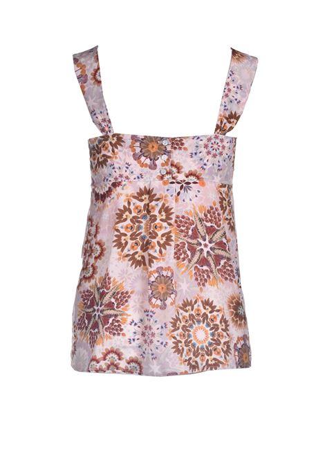 Top Stampa floreale in crepe de chine panna e rosa MOMONI | Top & T-shirt | MOTO0011028