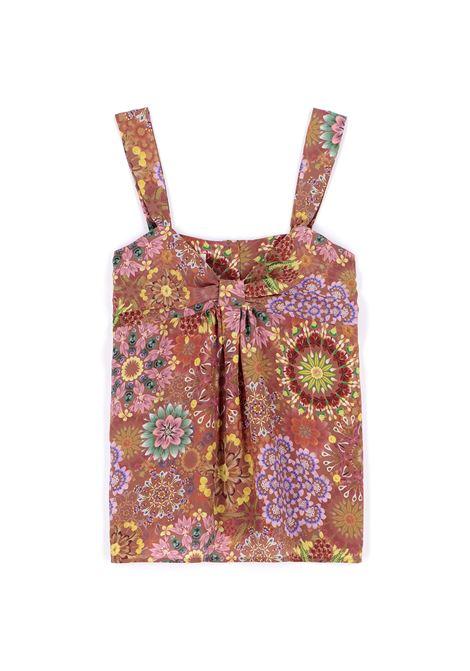 Top Stampa floreale in crepe de chine mattone e rosa MOMONI | Top & T-shirt | MOTO0016243