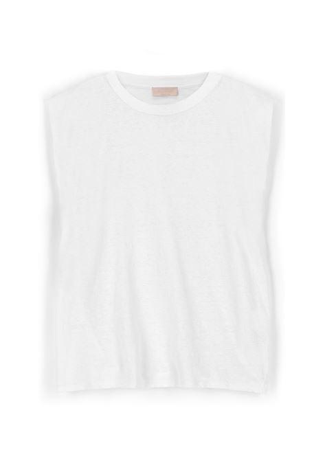 Armholes T-shirt in white lurex jersey MOMONI |  | MOTO0020016
