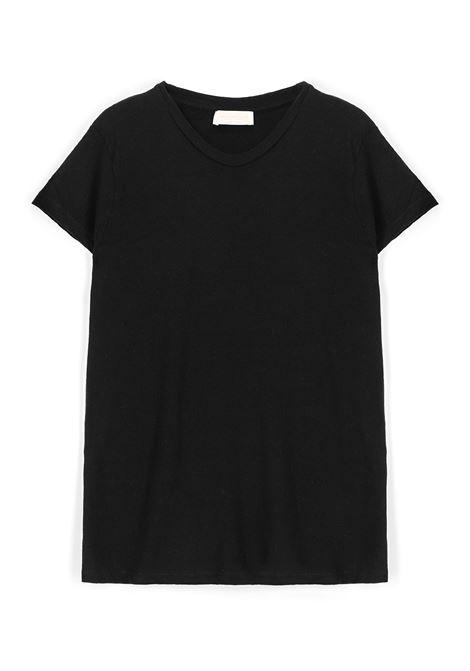 T-shirt girocollo in jersey di cotone nero MOMONI | Top & T-shirt | MOTS0060990