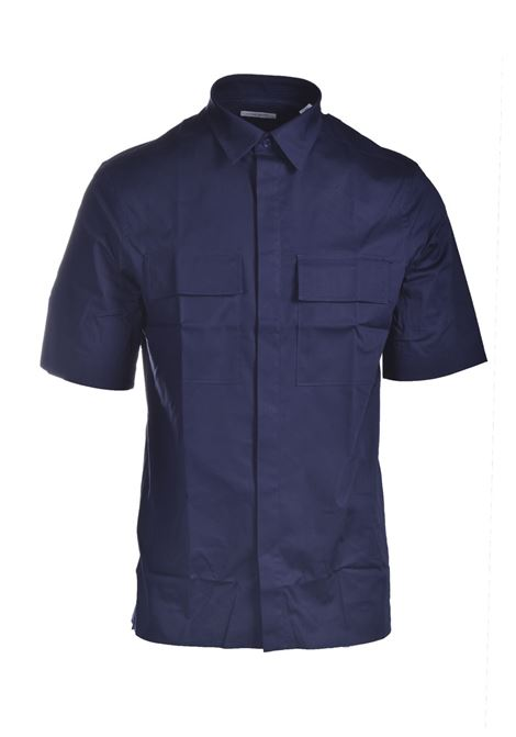 Blue cotton short-sleeved shirt PAOLO PECORA | Shirts | G121-02176462