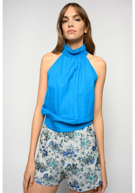 American-style top in imperial blue geometric jacquard PINKO | Tops | 1G15PX-Y6WZG32