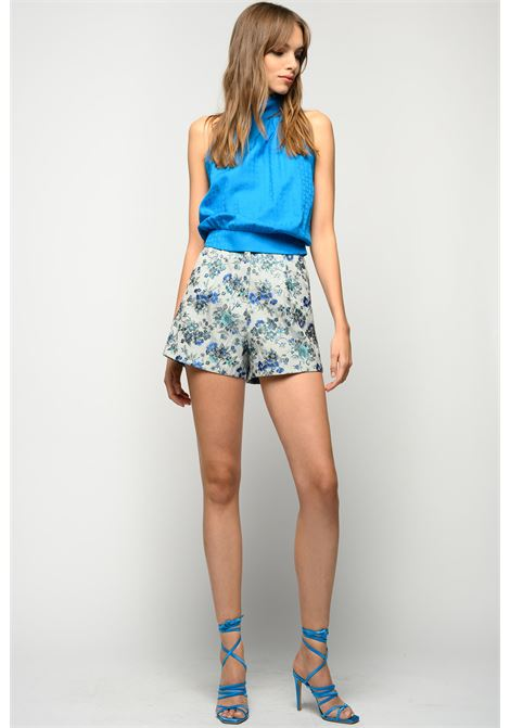 Top all'americana in jacquard geometrico blu imperiale PINKO | Tops | 1G15PX-Y6WZG32