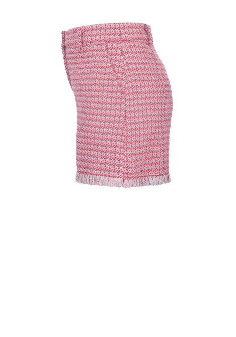 Sueia shorts in micro-pattern with fringed hem PINKO | Shorts | 1G15RW-8425RN6