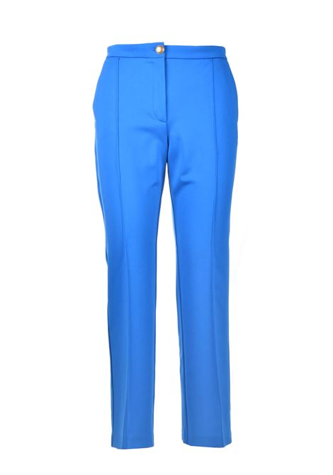 Classic trousers with gold button in imperial blue technical fabric PINKO | Pants | 1G15SC-5872G32
