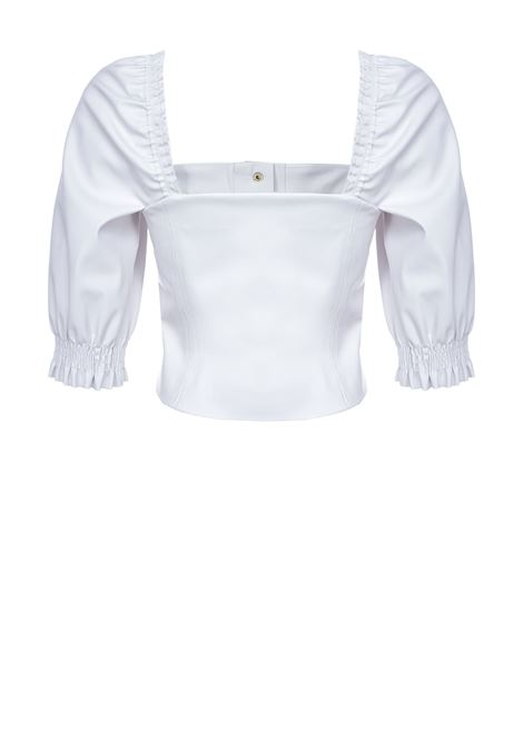 Short leather effect top with balloon sleeves PINKO | Tops | 1G15X3-7105Z14
