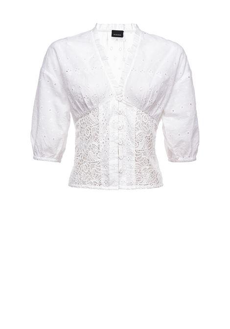Blusa corta in pizzo sangallo bianco PINKO | Bluse | 1G15YC-Y6WVZ14