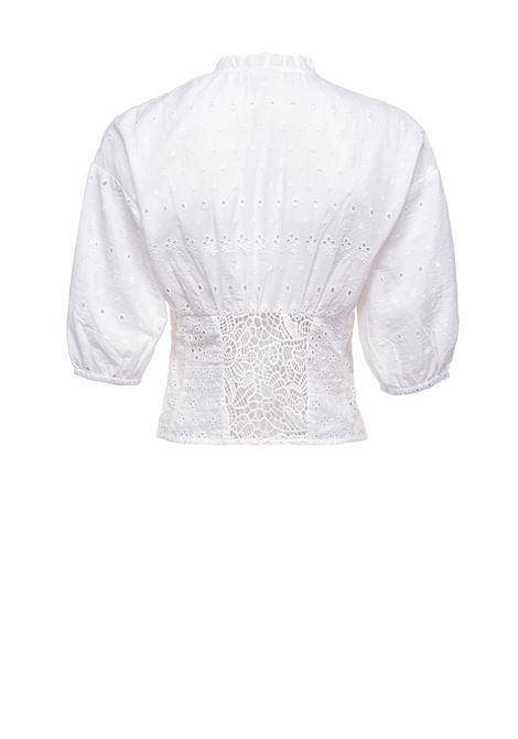 Short blouse in white Sangallo lace PINKO | Blouses | 1G15YC-Y6WVZ14
