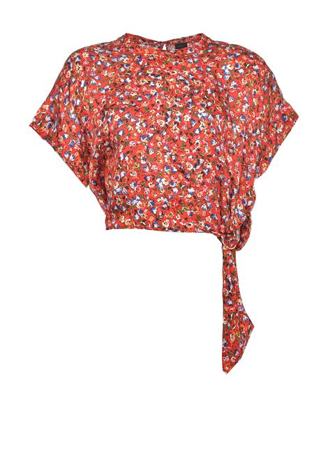 Short crewneck top in floral cloquè fabric PINKO | Blouses | 1G15YE-8437RE3