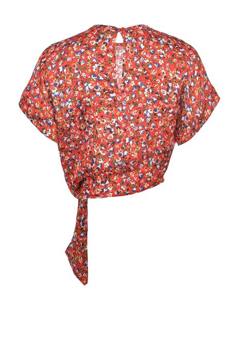 Top corto girocollo in tessuto cloquè floreale PINKO | Bluse | 1G15YE-8437RE3