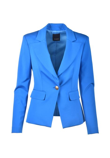 Fitted blazer with gold button in imperial blue technical fabric PINKO | Blazers | 1G160B-5872G32