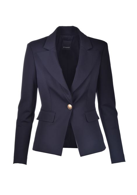 Fitted blazer with gold button in black technical fabric PINKO | Blazers | 1G160B-5872Z99