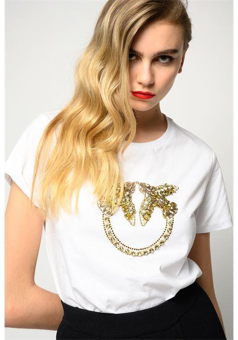 T-shirt bianca con ricamo gioiello Love Birds PINKO | T-shirt | 1G1610-Y4LXLZC