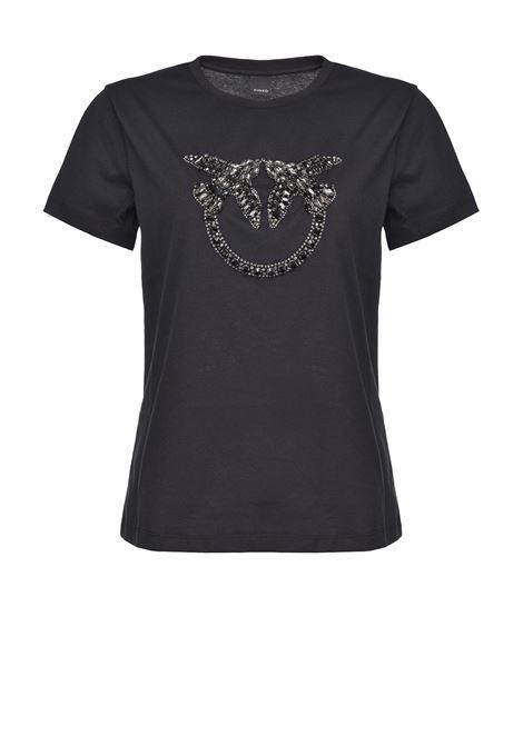 T-shirt nera con ricamo gioiello Love Birds PINKO | T-shirt | 1G1610-Y4LXZ99