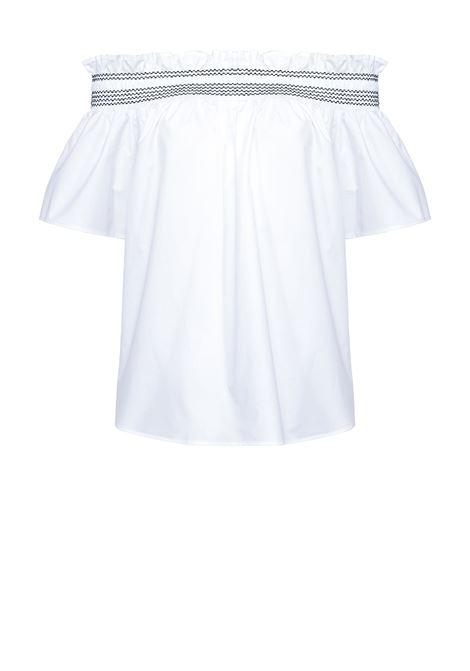 Blusa off-shoulder in popeline di cotone bianco PINKO | Bluse | 1G161G-Y6VWZZ1