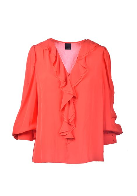 Blusa in crepe rosso con rouches PINKO | Bluse | 1G161Z-Y6ZVR25