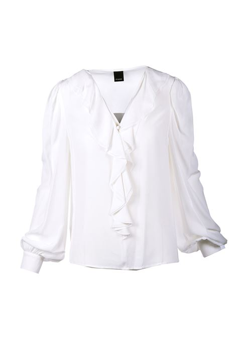 Blusa in crepe bianco con rouches PINKO | Bluse | 1G161Z-Y6ZVZ14