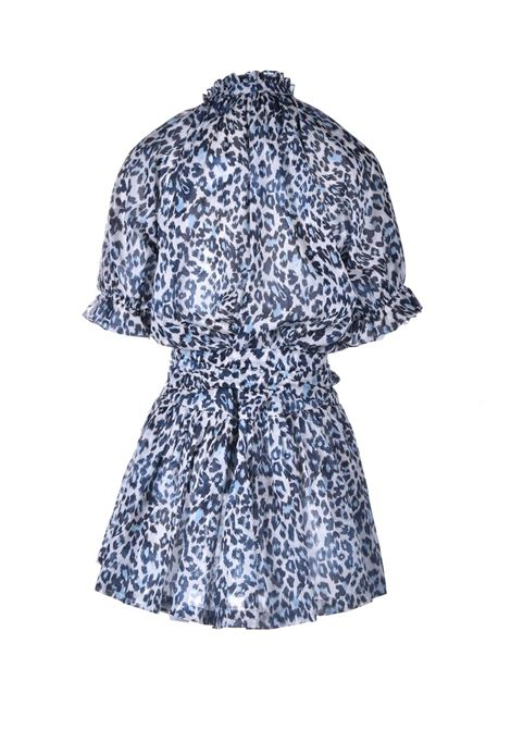 Mini dress in cotone animalier in blu PNK | Vestiti | D20ANIMAL PRINT