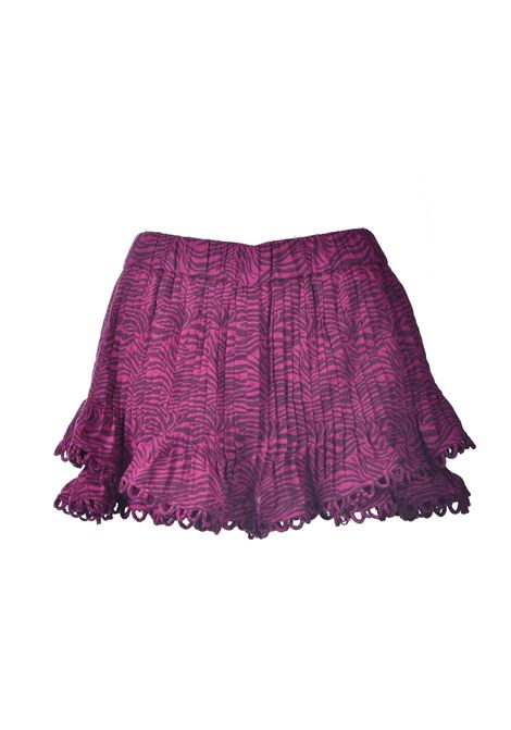 Shorts con balze in cotone animal print fucsia PNK | Shorts | P03FUCHSIA